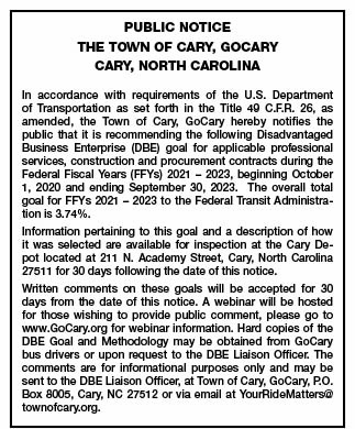 Town of Cary GoCary Public Notice