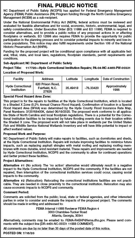 NC DPS Final Notice